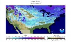 Photo satellite montrant la couverture de neige en date du 1er mars. Source: NOAA