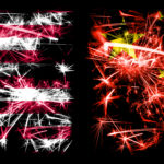 United States of America, USA vs China, Chinese New Year celebration sparkling fireworks flags concept background. Combination of two abstract states flags.